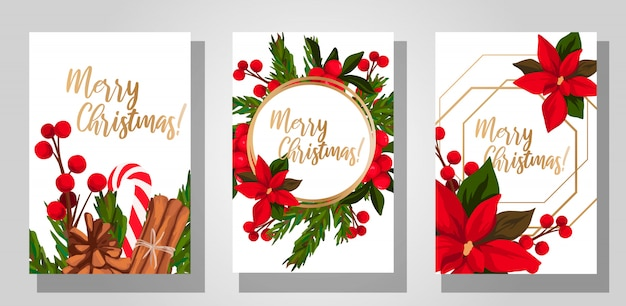 Set mit drei weihnachtskarten