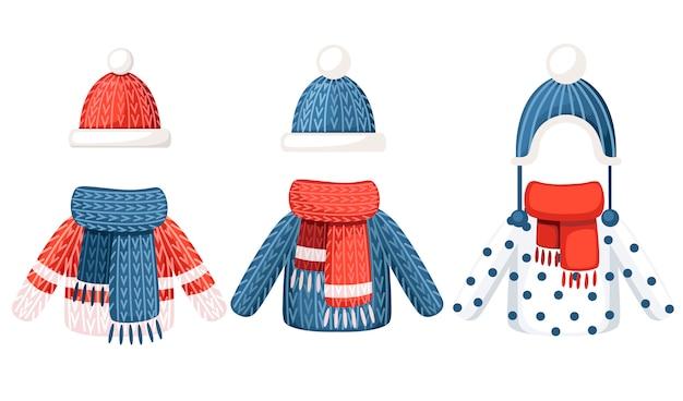Set mit drei winteroutfits. strickmütze, schal und pullover mit unterschiedlichem muster. illustration auf weißem hintergrund
