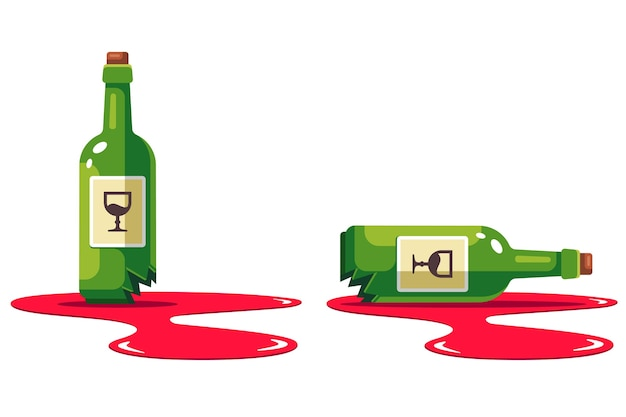 Set mit einer flasche wein, die zerschlagen wird. pfütze alkohol. schäden am laden. wohnung isoliert auf weißem hintergrund.