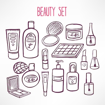 Set mit einer vielzahl von kosmetika und produkten für die körperpflege. handgezeichnete illustration