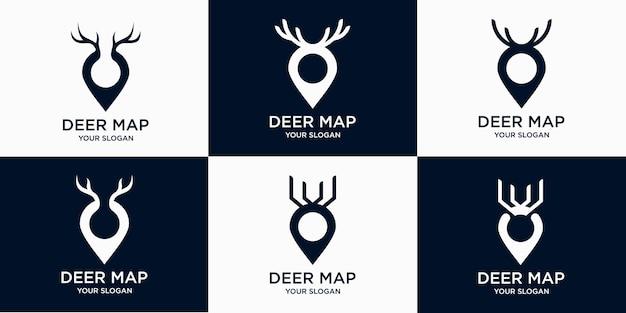 Set mit einfacher logo-hirschkarte, standortpunkt-hirsch mit kombinationshirsch und kartenlogo premium-vektor
