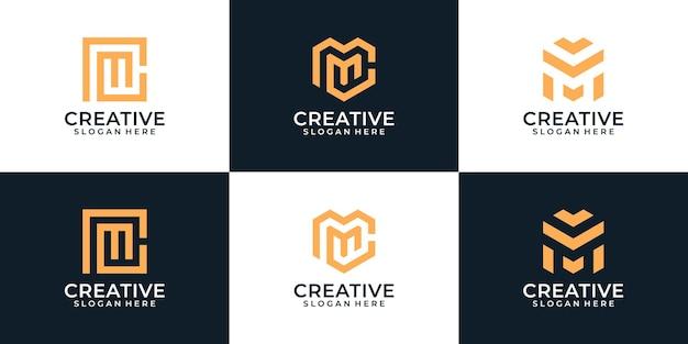 Set mit eleganter typografie von buchstaben m logo-design-elementen inspiration