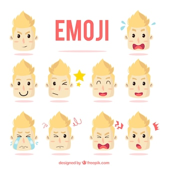 Set mit emoticons von lustiger junge