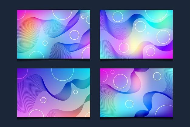 Set mit farbverlaufshintergrund mit abstrakter linie