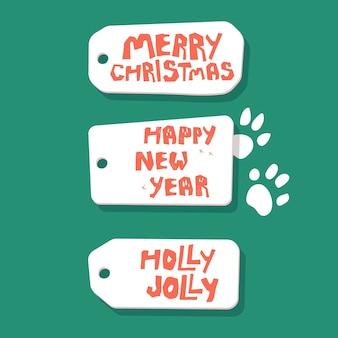 Set mit feiertagssätzen auf karten frohes neues jahr, frohe weihnachten, stechpalme jolly