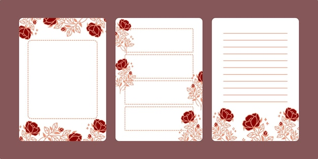 Set mit floralen notizblöcken und tagesplanern