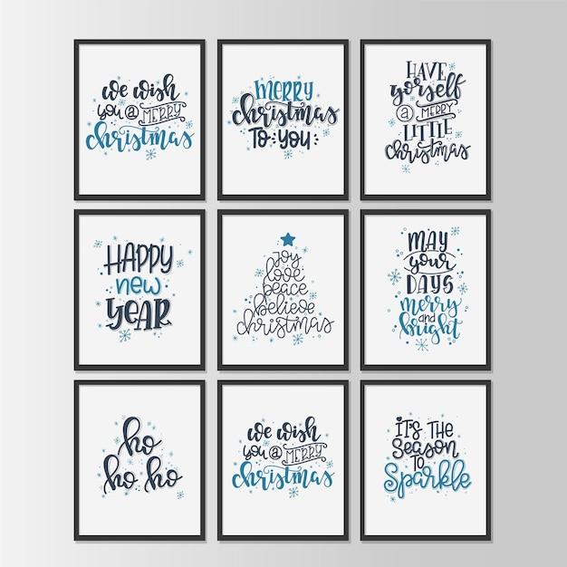Set mit frohe weihnachten und happy new year vintage geschenkanhänger und karten mit kalligraphie. handschriftliche beschriftung.