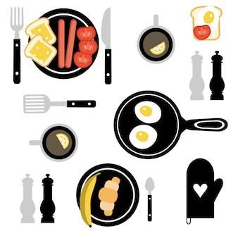 Set mit frühstücksnahrung.