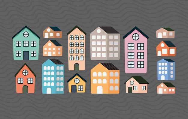 Set mit fünfzehn immobilienartikeln