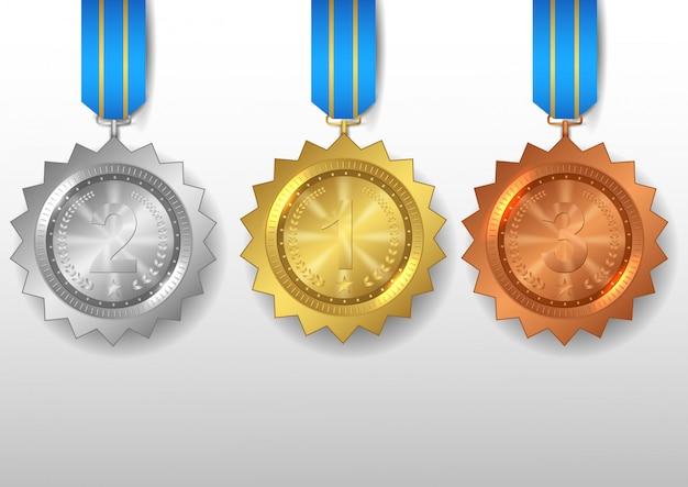 Set mit gold-, silber- und bronzemedaillen