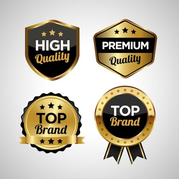 Set mit goldenen abzeichen und etiketten in premiumqualität
