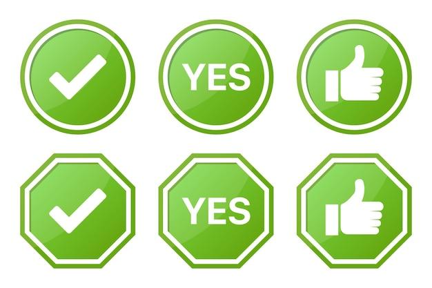 Set mit grünen ja-schildern mit häkchen und like
