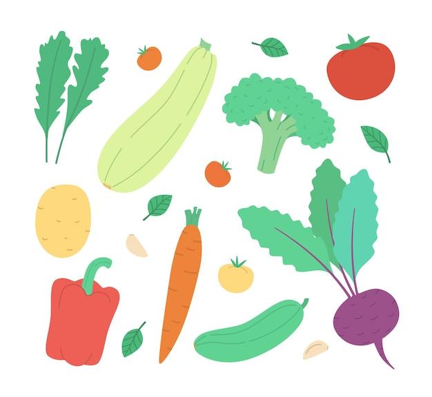 Set mit handgezeichnetem buntem gemüse. gemüse flach gesetzt: gurke, karotte, zwiebel, tomate.