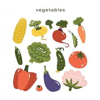 Set mit handgezeichneten bunten gekritzelgemüse. große sammlung im skizzenstil. flache symbole gesetzt - karotte, tomate, wurzelgemüse, blumenkohl, paprika, aubergine und mais. flache illustration