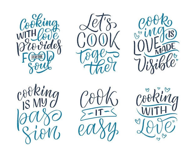 Set mit handgezeichneten schriftzitaten im modernen kalligraphie-stil über das kochen. inspirationsslogans für print- und posterdesign. vektor-illustration