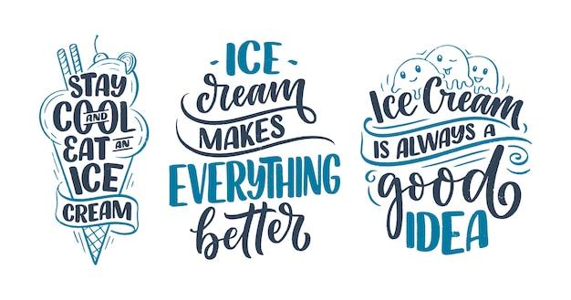 Set mit handgezeichneten schriftzugkompositionen über eis. lustige saison slogans.