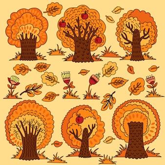 Set mit herbstbäumen und blumen.