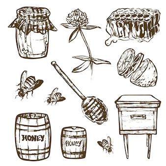 Set mit honigelementen gesetzt.
