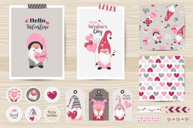 Set mit karten, notizen, aufklebern, etiketten, stempeln, tags mit valentinstagillustrationen