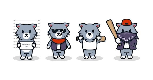 Set mit kleiner katze im gangstermob-kostüm