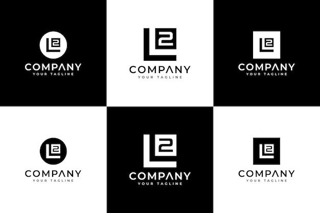 Set mit kreativem design des ersten l2-logos für alle anwendungen