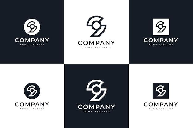 Set mit kreativem design des nummer 9-logos für alle anwendungen