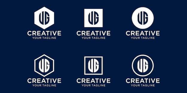 Set mit kreativem monogramm-buchstaben-ug-logo-design