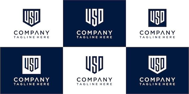 Set mit kreativem monogramm-logo-design