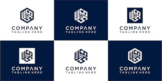 Set mit kreativem sechseck-monogramm-logo-design