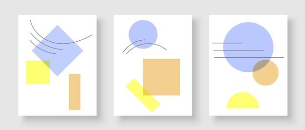 Set mit kreativen postern für die wanddekoration im modernen minimalistischen kunststil
