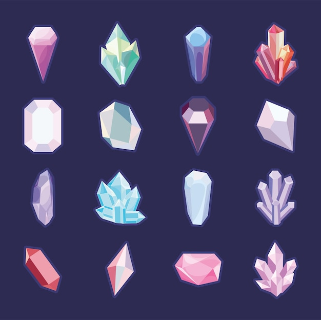 Set mit kristallen und edelsteinen