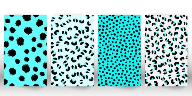 Set mit leopardenmuster. gefleckte felltextur. leopard mit animal-print.