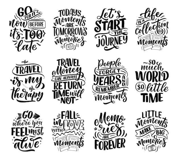 Set mit lifestyle-inspirationszitaten über reisen und gute momente
