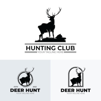 Set mit logo-design des hirschjagdvereins