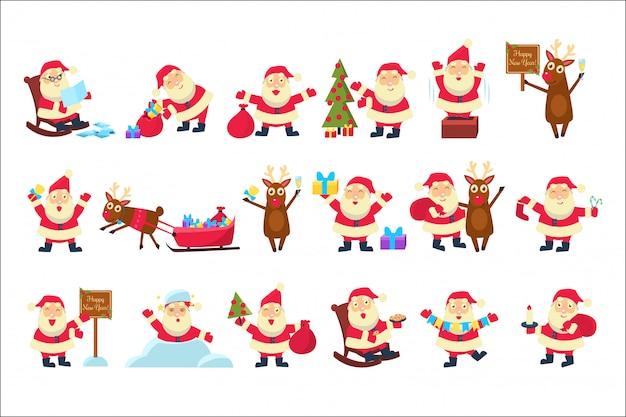 Set mit lustigem weihnachtsmann in verschiedenen posen.