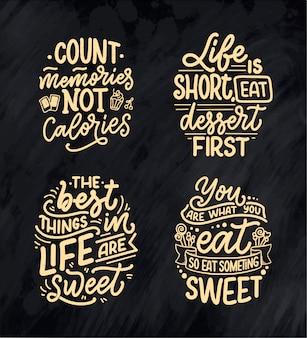 Set mit lustigen sprüchen, inspirierenden zitaten für café- oder bäckereidruck.