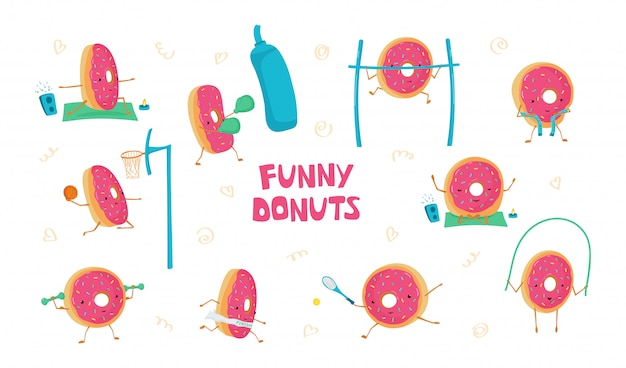 Set mit lustigen süßen donuts im sport. donuts meditiert, spielt basketball, tennis, laufen, seilspringen, boxen
