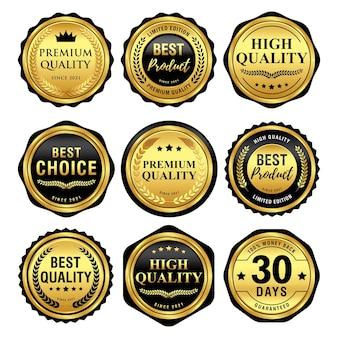 Set mit luxuriösen schwarzen und goldenen abzeichen-qualitätsetiketten