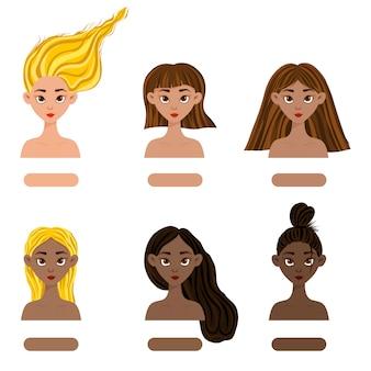Set mit mädchen mit unterschiedlichen haut- und haarfarben von hell bis dunkel. cartoon-stil.