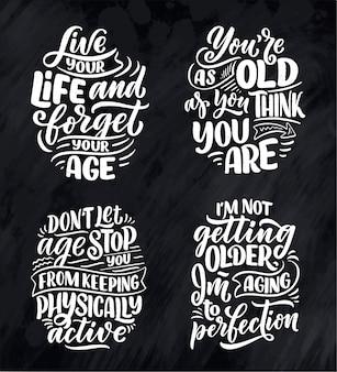 Set mit modernen und stilvollen handgezeichneten schriftzugsslogans.
