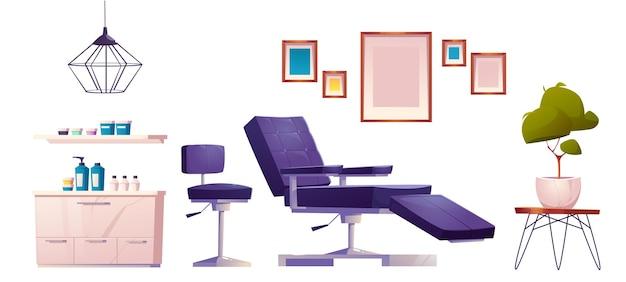 Set mit möbeln und werkzeugen für tattoo-salon