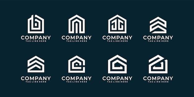 Set mit monogramm-logo-bundle für immobilienunternehmen