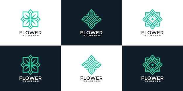 Set mit monogramm-schönheitsblumen-logo-design