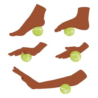 Set mit myofaszialen release-übungen für hände und füße