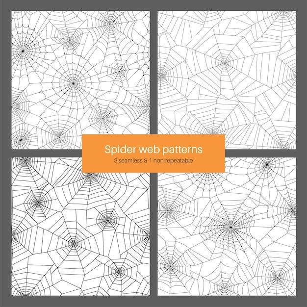 Set mit nahtlosem und nicht wiederholbarem muster mit spinnennetz. halloween-dekoration mit spinnennetz.
