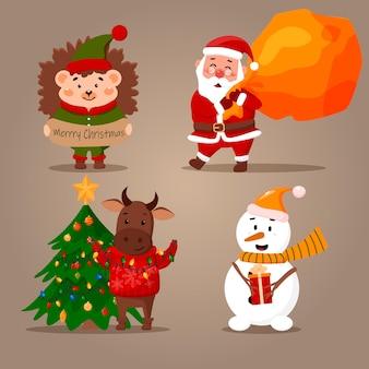 Set mit neujahrsfiguren. weihnachtsmann, stier, igel und schneemann.