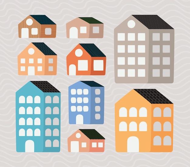 Set mit neun immobilienartikeln