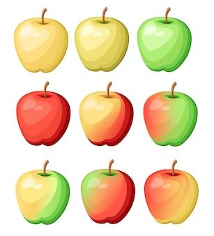 Set mit neun verschiedenfarbigen äpfeln. frische köstliche fruchtillustration. illustration auf weißem hintergrund.