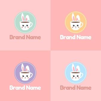 Set mit niedlichem kaninchen- oder hasengesicht als tasse kaffee-logo mit buntem emblem in rosafarbenem hintergrund