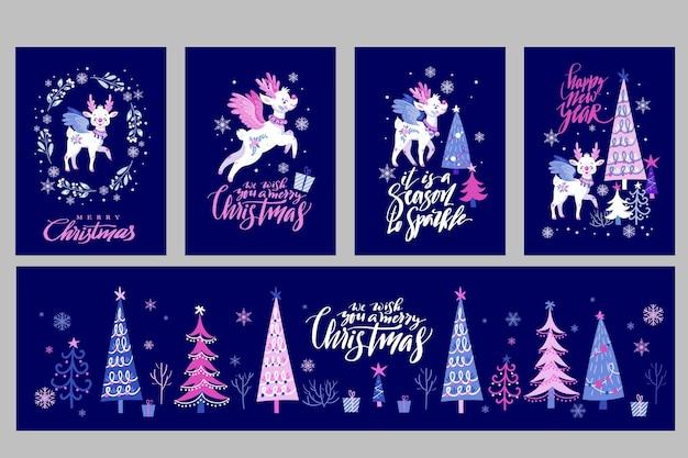 Set mit niedlichen feenhirschen und weihnachtsbäumen